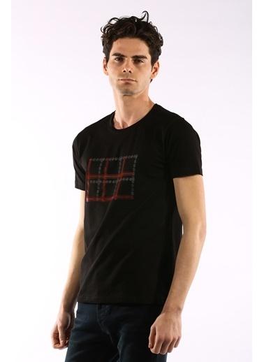 Rodrigo 3737 Baskili O Yaka Erkek Tshirt Siyah